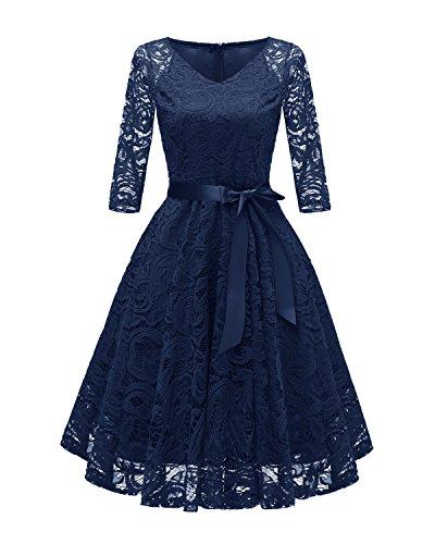 Laorchid Vintage Damen Kleid 3/4 Ärmel Floral Spitzenkleid Swing Cocktailkleid Navy M