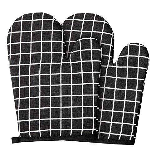 Diealles Shine Backhandschuhe Ofenhandschuhe Hitzebeständig, 1 Paar Backhandschuhe Baumwolle für Kochen und Backen, Topfhandschuhe Schwarz mit Weichem Innenfutter
