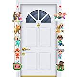 Coco-melon Happy Birthday Porch Cartoon Character Party Decoration Theme, Coco-melon Birthday Party Supplies for Kids Party Indoor and Outdoor Decor