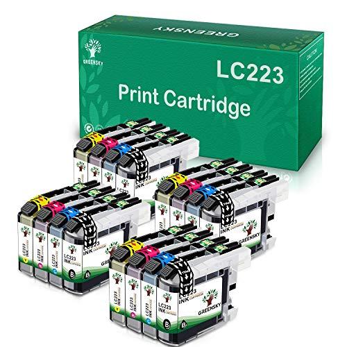 GREENSKY Reemplazo de Cartucho de Tinta Compatible para Brother LC223 LC223XL LC223 XL LC-223 for Brother MFC-J5320DW J5620DW J5720DW J5625DW J4625DW DCP-J4120DW DCP-J562DW (Paquete de 16)