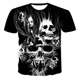 SSBZYES Camiseta De Manga Corta para Hombre Camiseta De Verano para Hombre Camiseta De Gran Tamaño para Hombre Fashion Horror Skull Camiseta Estampada En 3D Camiseta De Manga Corta Top Casual