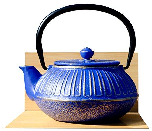 Tetsubin - Tetera de hierro fundido (0,6 L), color azul y dorado