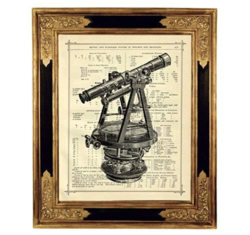 Teleskop Astronomie Poster Kunstdruck auf antiker Buchseite Universum Steampunk Geschenk Bild ungerahmt