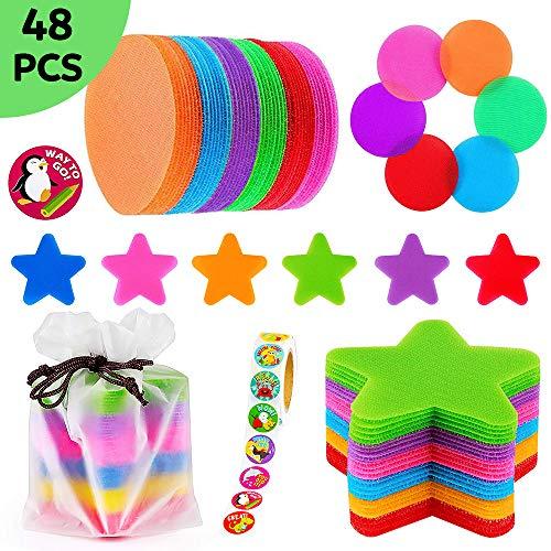 48 Stücke Teppich Punkt Marker mit Belohnungsaufkleber, 24 Kreisen und 24 Sternen Spots Marker für Kinder Lehrer Klassenzimmer Vorschule und Kindergarten (6 Farben, 4 Inch)