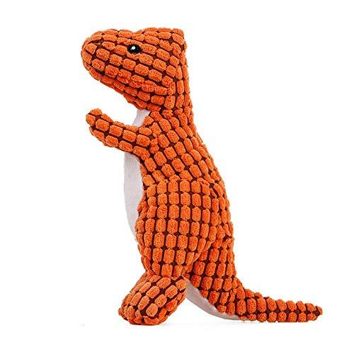 ZWQ Resistente a la mordedura Mascota Perro Masticar Juguetes de Dinosaurio para Perros Squeaky Small Big Dog Toy Limpieza de Dientes Suministros para Perros, Naranja, M-25x12cm