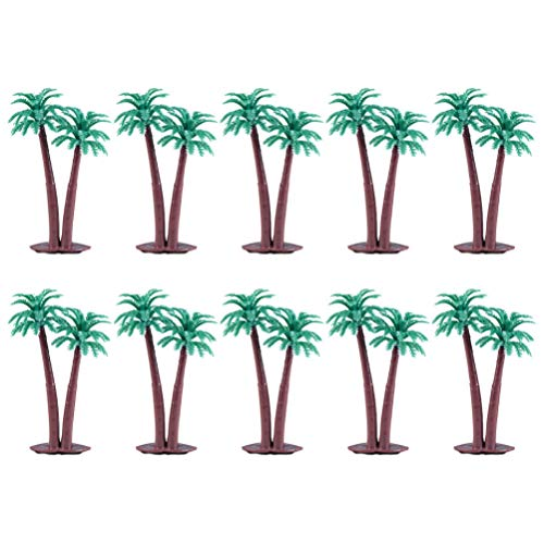 PRETYZOOM Artificial Coconut Tree Model Artificial Layout Rainforest Miniature Trees Hawaii Party Cake Topper Desktop Ornament Party Favors Home Office Hotel Decorations 10PCS