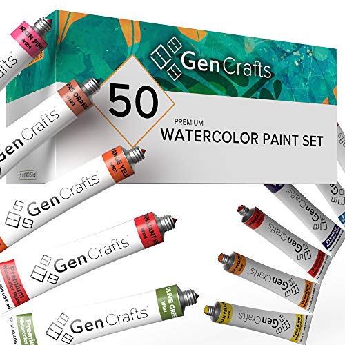 GenCrafts Watercolor Paint Set - Set of 50 Premium Vibrant Colors - (12 ml, 0.406 oz.) - Quality Non Toxic Pigment Paints for Canvas, Fabric, Crafts, and More