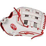 Rawlings Liberty Advanced Outfield Fastpitch Softball Glove, White/Scarlet, 13