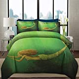 Duvet Cover Set Mermaid Hotel Luxury Bed Sets Duvet Cover Mermaid With Fish Tail Swimming in the Deep Sea Fantasy World Artwork Decorative 3 Piece Bedding Set with 2 Pillow Shams, Queen Size