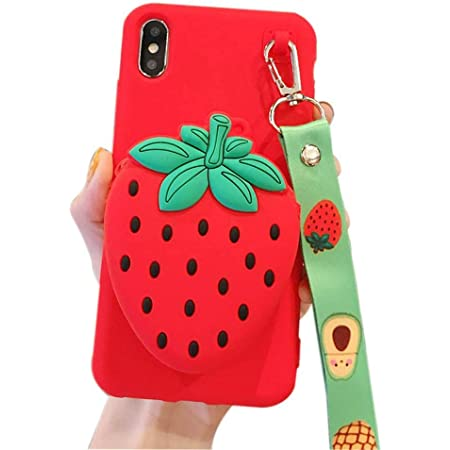 IPLUS 3D Cartoon Wallet Case for iPhone XR, Cute Fruit Mini Bag Design, Coin Purse Soft Silicone Case Cover with Stand & Long Shoulder Strap (Strawberry, iPhone XR)
