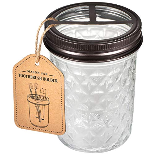 Mason Jar Toothbrush Holder - Premium Rustproof 304 Stainless Steel - Holds 2 Toothbrushes and Toothpaste - Farmhouse Decor Countertop and Vanity Storage Organizer/Bronze