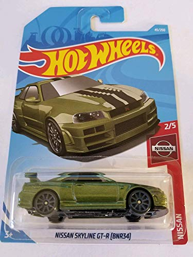 Hot Wheels 2019 Nissan Series Nissan Skyline GT-R (BNR34) 45/250, Metallic Green