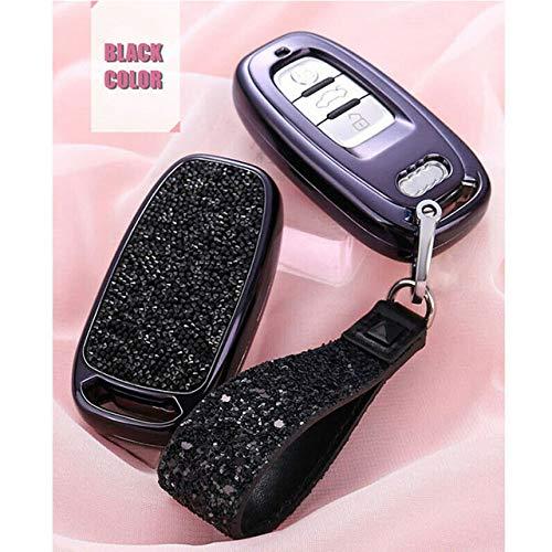 LINGZIA Cubierta del Bolso de la Caja del Llavero de la Entrada Rmote del Coche del Diamante, para Audi A3 A4 A6L Q5 Q7 B6 B7, Negro