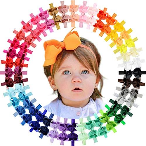 WillingTee Baby Girls Headbands 4.5 Inch Grosgrain Ribbon Hair Bows Elastic Headbands Hair Accessories for Newborns Baby Girls Infants Toddlers 40 Colors