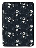 Disney Nightmare Before Christmas Blanket - Measures 62 x 90 inches, Kids Bedding Features Jack Skellington - Fade Resistant Super Soft Fleece (Official Disney Product)