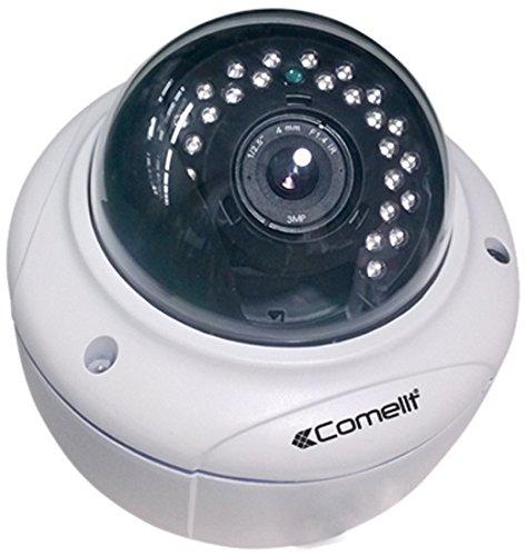 Comelit - Ipcam069a minidomo pleno de la cámara ip hd, lente de distancia focal variable 2,8 a 12 mm, ir 30 m, ip66
