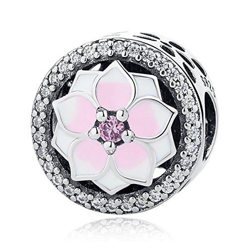 Magnolia Bloom Charm, esmalte de cereza pálida y rosa CZ925 plata de ley charms Fit otras pulseras de abalorios europeas