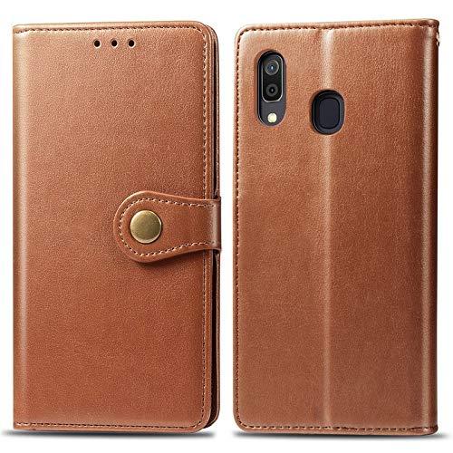 Happy-L Caso Samsung Galaxy A30 Japan Version SCV43, Funda Delgada de Cuero PU Premium PU con Estuche de Billetera de Cierre magnético Fuerte de Doble vía (Color : Brown)