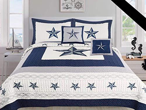 Linen Mart Texas Cowboys Blue Star Comforter Set - 5 Piece Set (Bonus Pack) (Oversized King)