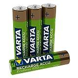 VARTA Endless Energy - Pack de 4 Pilas AAA Recargables (NiMH, 3500 ciclos, 550 mAh, precargadas)