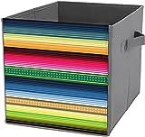 Cubos de almacenamiento plegables | Caja de almacenamiento cuadrada plegable, cesta organizadora duradera, manta tradicional mexicana serape
