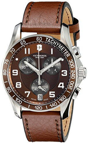 Victorinox Swiss Army 241498 Chrono Classic Watch with Brown Dial and Brown Leather Strap