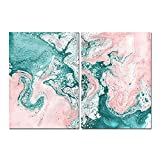 agwKE2 Set of 2 Ocean Abstract Painting Print Beach Sea Canvas Poster Modern Wall Art Nordic Pictures for Living Room Home Decoration 40x60cmx2 unframed