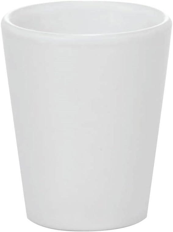 Thirsty Rhino Lustro, Round 1.75 oz Shot Glass with Heavy Base, Ceramic, White, Set of 2