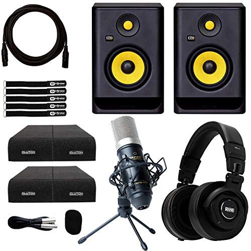 "KRK Rokit RP5G4 5"" Powered Studio Monitor Speakers Recording Condenser Mic Pack"