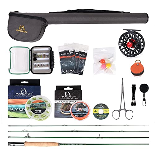 M MAXIMUMCATCH Maxcatch Premier Fishing Rod and Reel Combo Complete 9' Fishing Outfit (5 wt -9' Half-Handle Rod,5/6 Reel)