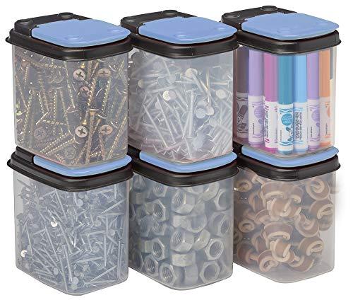 Buddeez - Recipientes de almacenamiento con tapas azules, 8 unidades