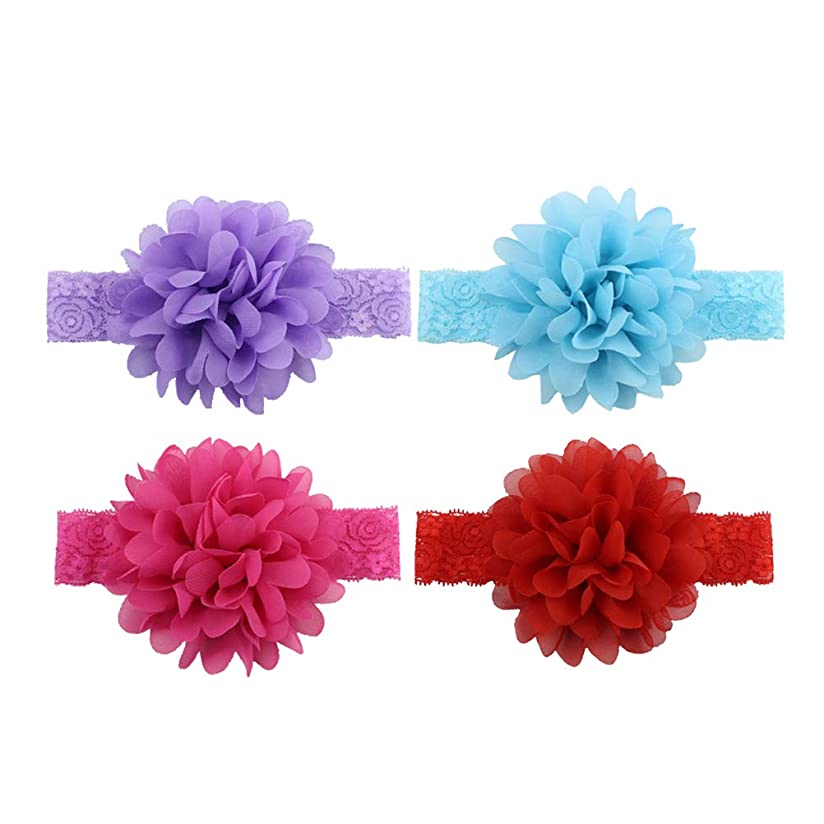 無駄に挑発する減少Toyvian 女の赤ちゃんのヘッドバンドスウィートレースの花の装飾ヘアバンド(アソートカラー)