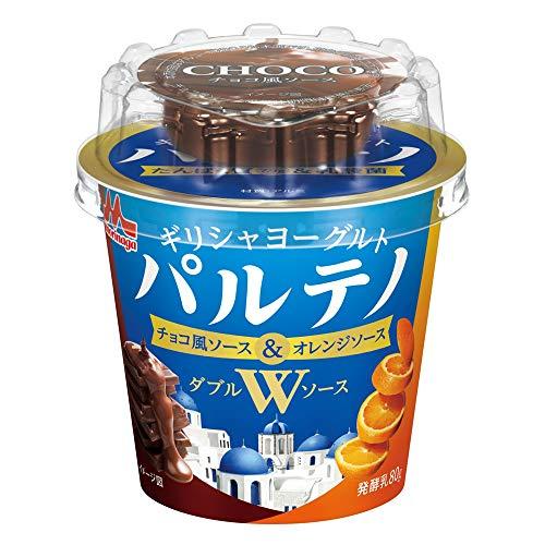 森永乳業 ギリシャヨーグルト パルテノ Wソース チョコ風ソース&オレンジソース (80g+9g) 12個