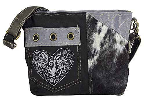 Domelo Dirndl Tasche Umhängetasche Oktoberfest Damen Accessories klein Trachtentasche mit Herz Kleine Geschenke für Teenager Mädchen Crossbody Bag Vintage Retro Handtasche aus Canvas & Leder