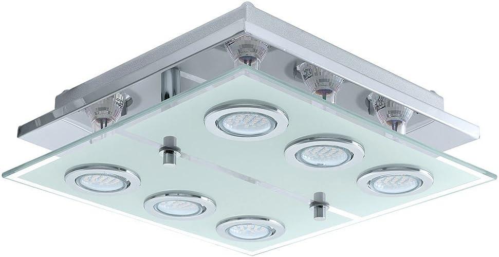 Éclairage plafonnier DEL 18 W lampe salle de séjour verre acier affiné couloir Eglo Cabo 13551