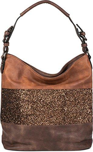 styleBREAKER edle 2-farbige Hobo Bag Handtasche mit Pailletten Streifen, Shopper, Schultertasche, Tasche, Damen 02012181, Farbe:Dunkelbraun/Braun