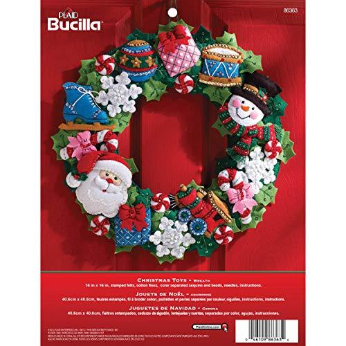 Bucilla Christmas Toys Wreath Felt Applique Kit