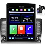 Car Stereo Apple Carplay Double Din MP5 Car Radio 9.5''Vertical Touchscreen HD 1080P Headunit Support Voice Assistant/Mirror Link/Bluetooth/FM/U Disk/TF Card/SWC/Fast Charging,with AHD Backup Camera