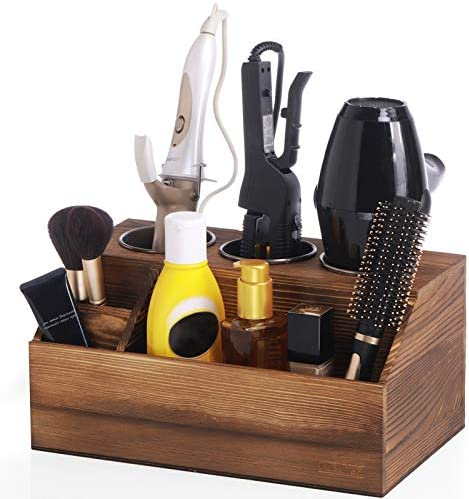 ROLOWAY Wooden Hair Tool Organizer Blow Dryer Holder Curling Iron Holder Flat Iron Holder Hair product image