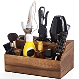 ROLOWAY Wooden Hair Tool Organizer - Blow Dryer Holder - Curling Iron Holder - Flat Iron Holder - Hair Styling Tools & Accessories Organizer - Natural Designed Bathroom Vanity Countertop Organizer
