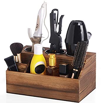 ROLOWAY Wooden Hair Tool Organizer - Blow Dryer Holder - Curling Iron Holder - Flat Iron Holder - Hair Styling Tools & Accessories Organizer - Bathroom Vanity Countertop Organizer  Torched Brown