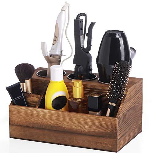 ROLOWAY Wooden Hair Tool Organizer - Blow Dryer Holder - Curling Iron Holder - Flat Iron Holder - Hair Styling Tools & Accessories Organizer - Bathroom Vanity Countertop Organizer (Torched Brown)