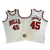 OKMJ # 45 Jordania Baloncesto Jersey, 94-95 Vintage Blanco/Rojo Bordado Fans Sport Jersey, Malla Transpirable.S-XXL, blanco, S