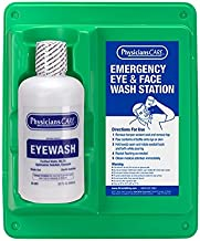 PhysiciansCare by First Aid Only 24-202 Wall Mountable Eye Flush Station with Single 32 oz Bottle, 11-3/4