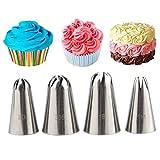 Joyeee Set de Boquillas, 4 Piezas Boquillas Grandes de Glaseado con Forma de Rosa para Decoración de Tartas, Traje de Consejos de Pastelería para Decorar Dulces, Galletas y Cupcakes