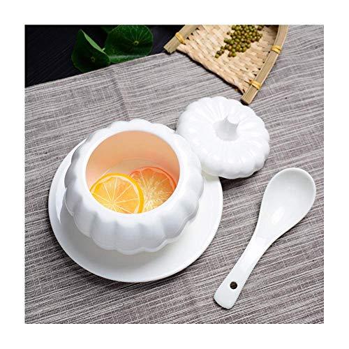 WYBD.Y Hochwertige 2 Stück Reine weiße Keramik-Kürbissuppe mit Deckel zum Versenden Löffel Haushaltswasser Eintopf gedünstet Vogelnest Tonic Suppe Gedämpfte Eierschale