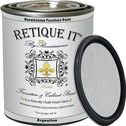 Retique It Chalk Furniture Paint by Renaissance, 16 oz (Pint), 03 Argentine