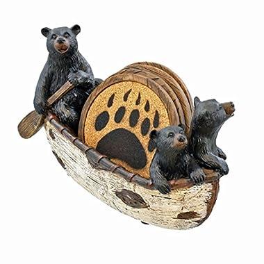 3 Black Bears Canoeing Coaster Set - 4 Coasters Rustic Cabin Canoe Cub Decor by LL Home