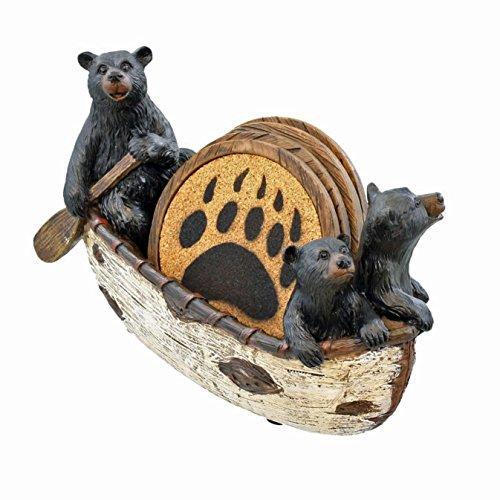 LL Home 3 Black Bears Canoeing Coaster Set - 4 Coasters Rustic Cabin Canoe Cub Decor (Multicolor) (Multicolor)