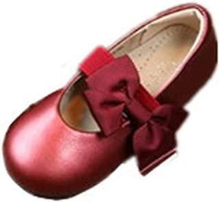 MIKA HOM Girls Leather Design Soft Round Toe Princess Dress Mary Jane Flat Shoes